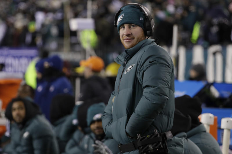 Philadelphia Eagles quarterback Carson Wentz suffered a season-ending knee injury last Dec. 10. (AP)