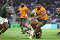 Australia's Taniela Tupou makes a run during the Rugby Championship test match between the Springboks and the Wallabies in Brisbane, Australia, Saturday, Sept. 18, 2021. (AP Photo/Tertius Pickard)