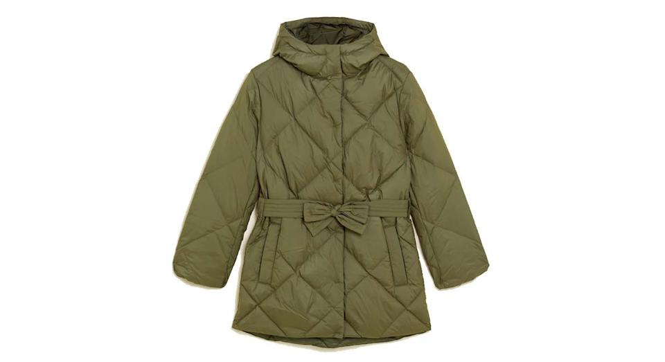 Feather & Down Belted Puffer Coat