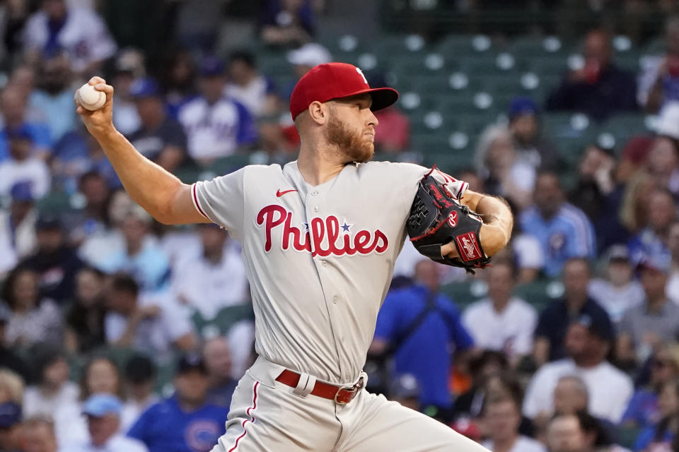 Philadelphia Phillies starting pitcher Zack Wheeler delivers during the first inning of the team's baseball game against the Chicago Cubs on Wednesday, July 7, 2021, in Chicago. (AP Photo/Charles Rex Arbogast)