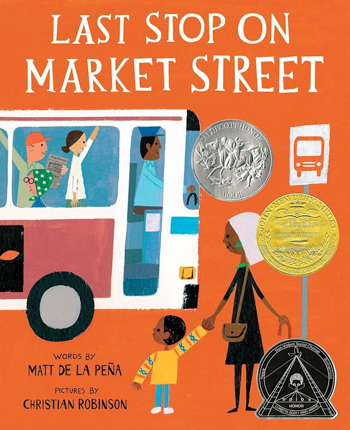 "This Newbery Medal-winning book follows a boy and his grandmother as they witness beauty, kindness and joy on the bus. <i>(Available <a href=""https://www.amazon.com/Last-Stop-Market-Street-Matt/dp/0399257748"" rel=""nofollow noopener"" target=""_blank"" data-ylk=""slk:here"" class=""link rapid-noclick-resp"">here</a>)</i>"