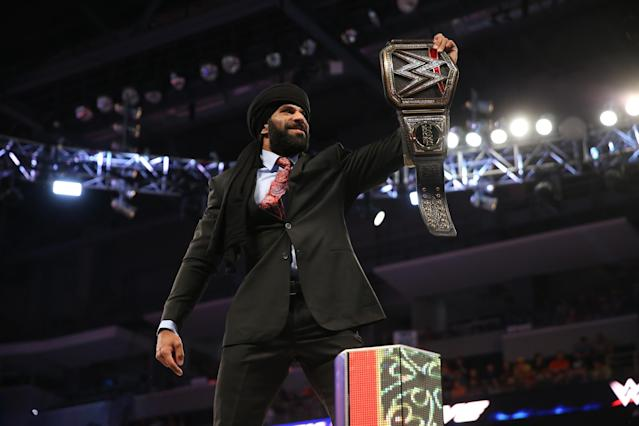 Jinder Mahal talked with Yahoo Sports about the growth of sports in India, cultural appropriation and how he got his start in WWE. (Courtesy of WWE)