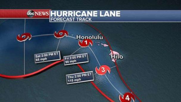 PHOTO: The forecast track of Hurricane Lane is seen here. (ABC News)