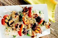 """<p>A super <a href=""""https://www.thedailymeal.com/10-easy-summer-chicken-recipes-0?referrer=yahoo&category=beauty_food&include_utm=1&utm_medium=referral&utm_source=yahoo&utm_campaign=feed"""" rel=""""nofollow noopener"""" target=""""_blank"""" data-ylk=""""slk:easy chicken dish perfect for summer"""" class=""""link rapid-noclick-resp"""">easy chicken dish perfect for summer</a>, this recipe calls for skewering chicken pieces with ripe peaches, mushrooms and zucchini for a sweet and savory flavor.</p> <p><a href=""""https://www.thedailymeal.com/best-recipes/grilled-chicken-peach-skewers?referrer=yahoo&category=beauty_food&include_utm=1&utm_medium=referral&utm_source=yahoo&utm_campaign=feed"""" rel=""""nofollow noopener"""" target=""""_blank"""" data-ylk=""""slk:For the Grilled Chicken and Peach Kabobs recipe, click here."""" class=""""link rapid-noclick-resp"""">For the Grilled Chicken and Peach Kabobs recipe, click here.</a></p>"""