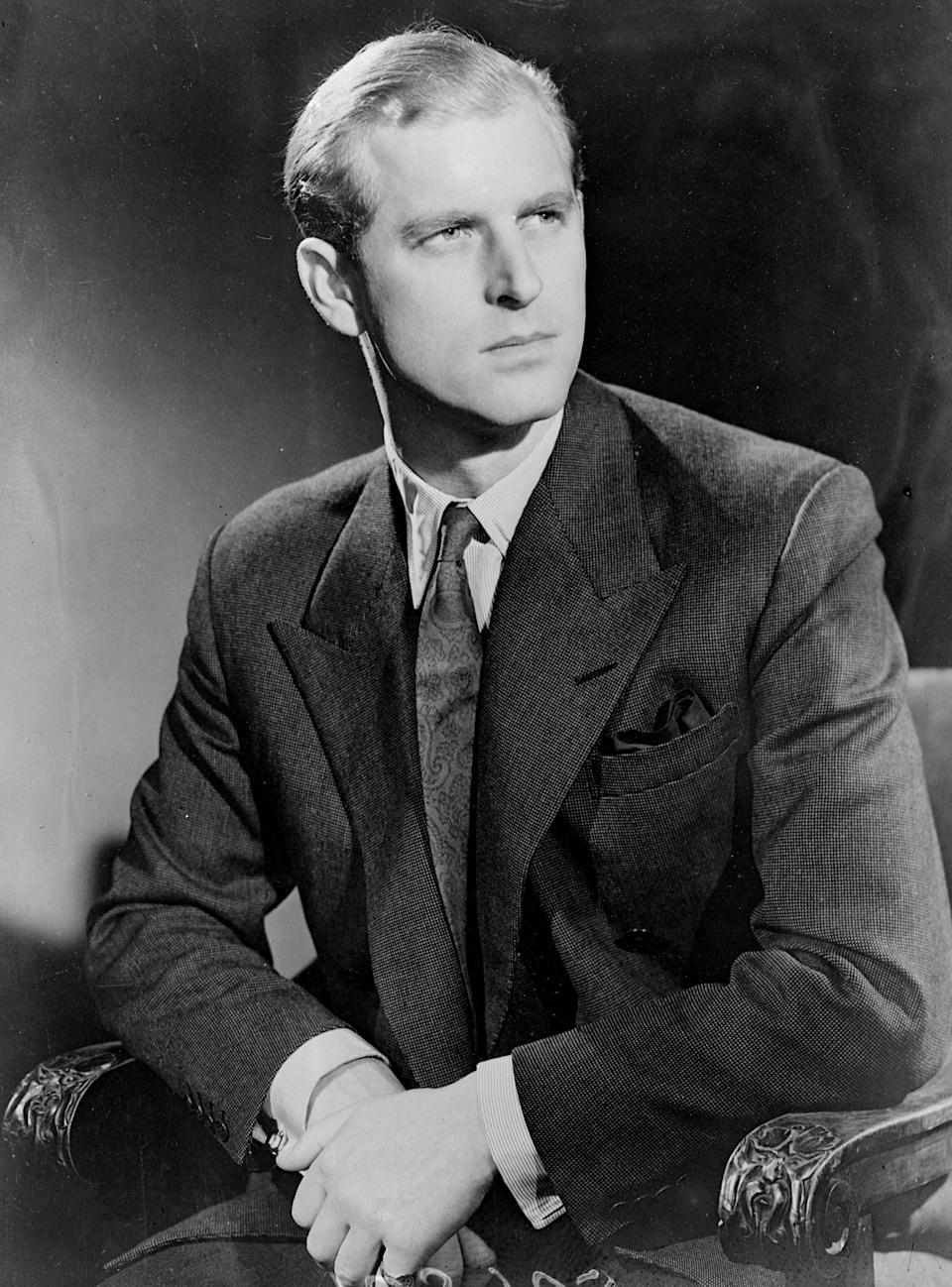 <p>Prince Philip posed in a sharp suit and tie the day before his wedding on November 20, 1947. Photo: Getty Images.</p>