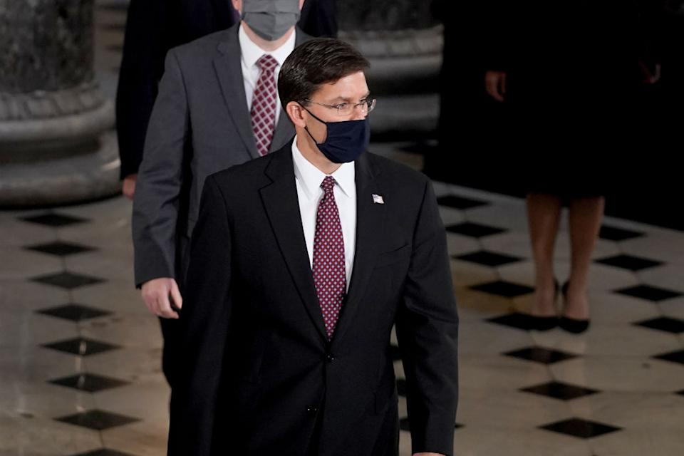 WASHINGTON, DC - SEPTEMBER 25: Secretary of Defense Mark Esper arrives to pay his respects at a ceremony to honor the late Justice Ruth Bader Ginsburg as she lies in state at National Statuary Hall in the U.S. Capitol on September 25, 2020 in Washington, DC. Ginsburg, who was appointed by former U.S. President Bill Clinton, served on the high court from 1993, until her death on September 18, 2020. She is the first woman to lie in state at the Capitol. (Photo by Greg Nash - Pool/Getty Images)
