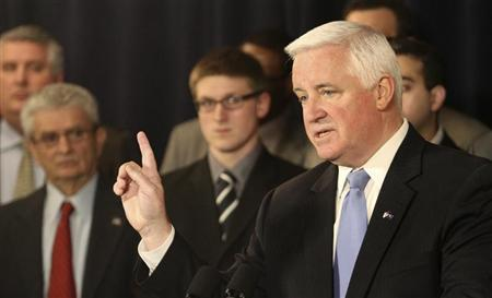 Pennsylvania Governor Tom Corbett speaks at a news conference in State College