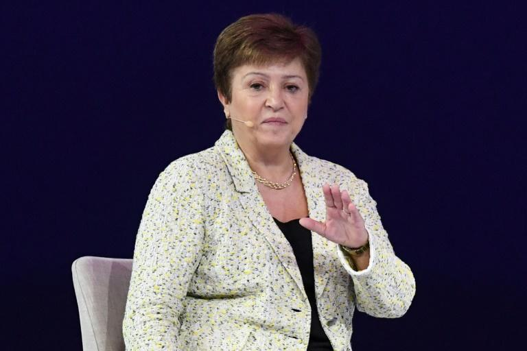International Monetary Fund managing director Kristalina Georgieva at the Global Women's Forum in Dubai (AFP Photo/KARIM SAHIB)