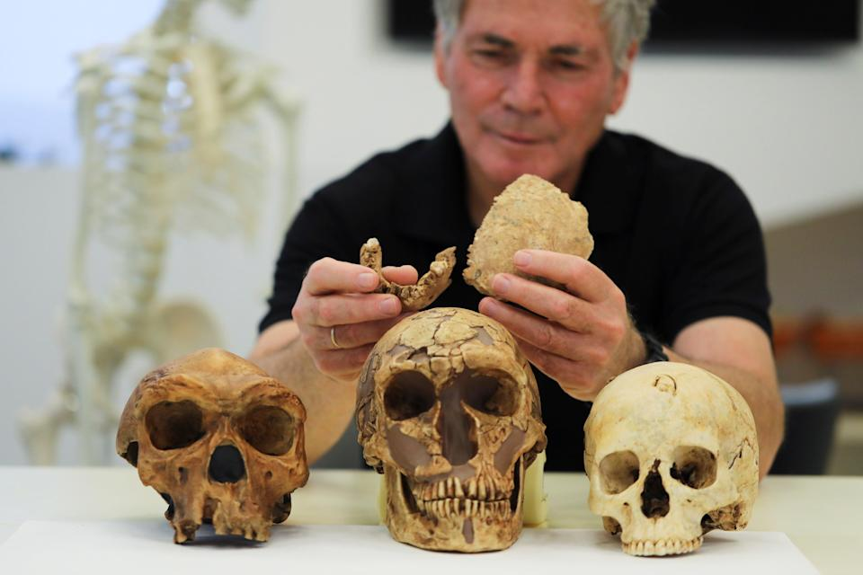 Tel Aviv University Professor Israel Hershkovitz holds what scientists say are two pieces of fossilised bone of a previously unknown kind of early human (Reuters)