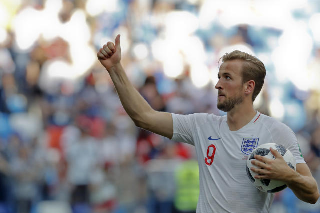 England's Harry Kane celebrates his team's 6-1 victory at the end of the group G match between England and Panama at the 2018 soccer World Cup at the Nizhny Novgorod Stadium in Nizhny Novgorod , Russia, Sunday, June 24, 2018. (AP Photo/Antonio Calanni)