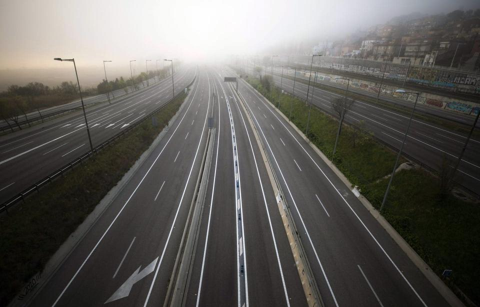 """<span class=""""caption"""">Reduced traffic during lockdowns led to decreases in air pollution in many major cities in Europe. </span> <span class=""""attribution""""><span class=""""source"""">(AP Photo/Emilio Morenatti)</span></span>"""