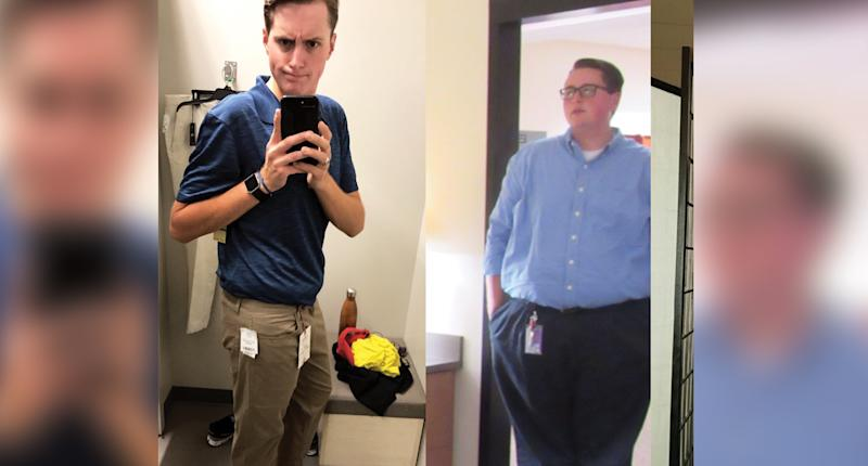 Hunnicutt, pictured after and before his weight-loss journey, started by following the Whole30 diet, before switching to counting calories and doing cardio at the gym. (Photo: Eric Hunnicutt)