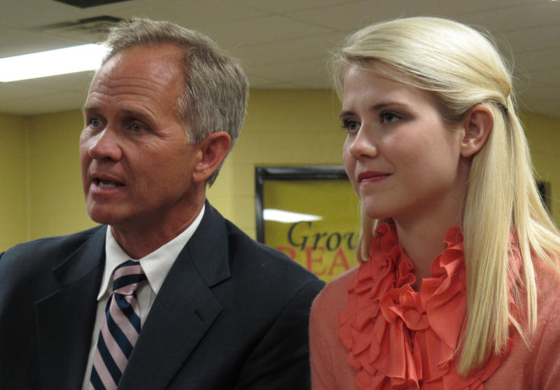 "FILE - In this Aug. 27, 2012 file photo, Ed Smart, left, and daughter Elizabeth Smart talk to reporters before her speech at Scotts Hill High School, where missing Tennessee woman Holly Bobo graduated from, in Scotts Hill, Tenn. The father of Utah kidnapping survivor Elizabeth Smart has come out as gay, saying his decision brings challenges but also ""huge relief."" Ed Smart said in a letter shared Friday, Aug. 16, 2019, with NBC's ""Today"" show that he no longer feels comfortable being a member of The Church of Jesus Christ of Latter-day Saints, which opposes same-sex relationships. (AP Photo/Adrian Sainz, File)"
