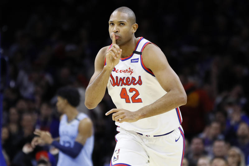 Philadelphia 76ers' Al Horford reacts after making a 3-pointer during the second half of the team's NBA basketball game against the Memphis Grizzlies, Friday, Feb. 7, 2020, in Philadelphia. (AP Photo/Matt Slocum)