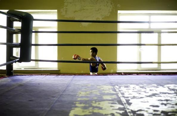 Mongolian Olympic boxer Tugstsogt Nyambayar prepares to train in a gym in Ulan Batur, October 27, 2011.