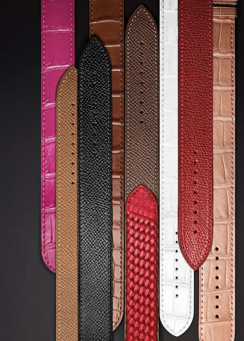 A selection of interchangeable watchbands available with the Tom Ford 001 timepiece