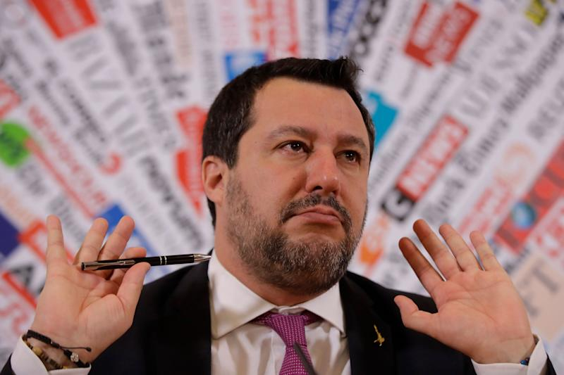 Opposition populist leader Matteo Salvini gestures during press conference at the Foreign Press association, in Rome, Thursday, Feb. 13, 2020. The Italian Senate voted by a large margin Wednesday to allow the prosecution of Salvini for making 131 rescued migrants to remain on a coast guard vessel for days when he was Italy's interior minister. (AP Photo/Alessandra Tarantino) (Photo: ASSOCIATED PRESS)