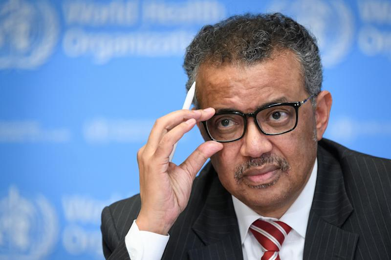 A photo taken on March 11, 2020 shows World Health Organization (WHO) Director-General Tedros Adhanom Ghebreyesus attending a press briefing on COVID-19 at the WHO headquarters in Geneva. (Photo by FABRICE COFFRINI / AFP) (Photo by FABRICE COFFRINI/AFP via Getty Images)