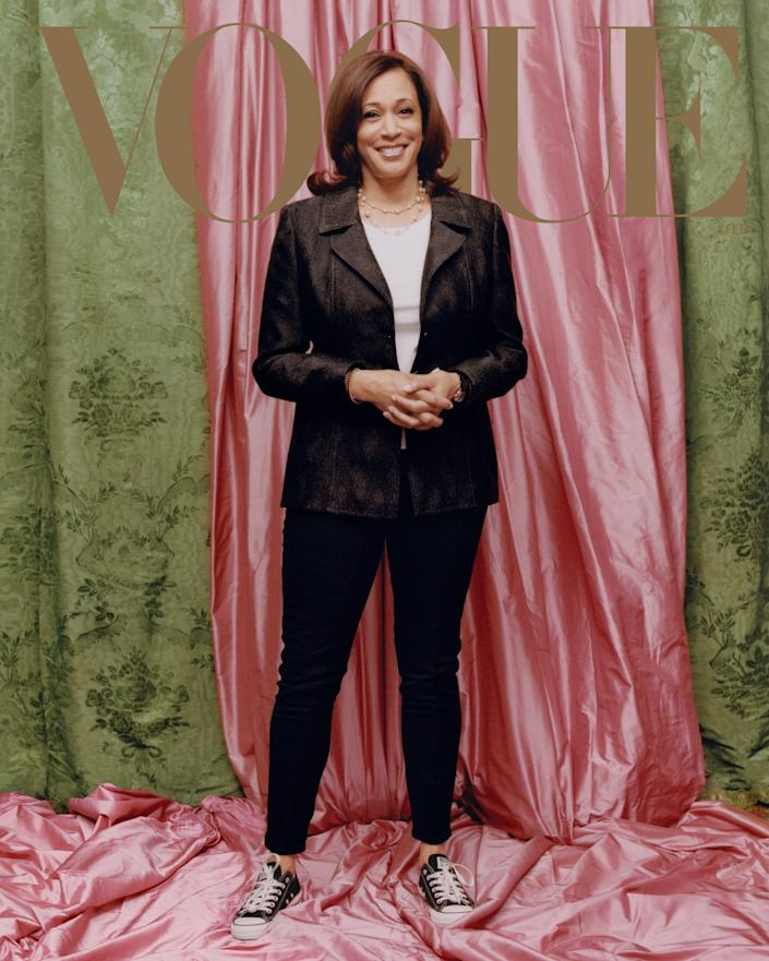 Vice President-elect Kamala Harris appears on the February cover of Vogue. (Photo: Tyler Mitchell/Vogue)