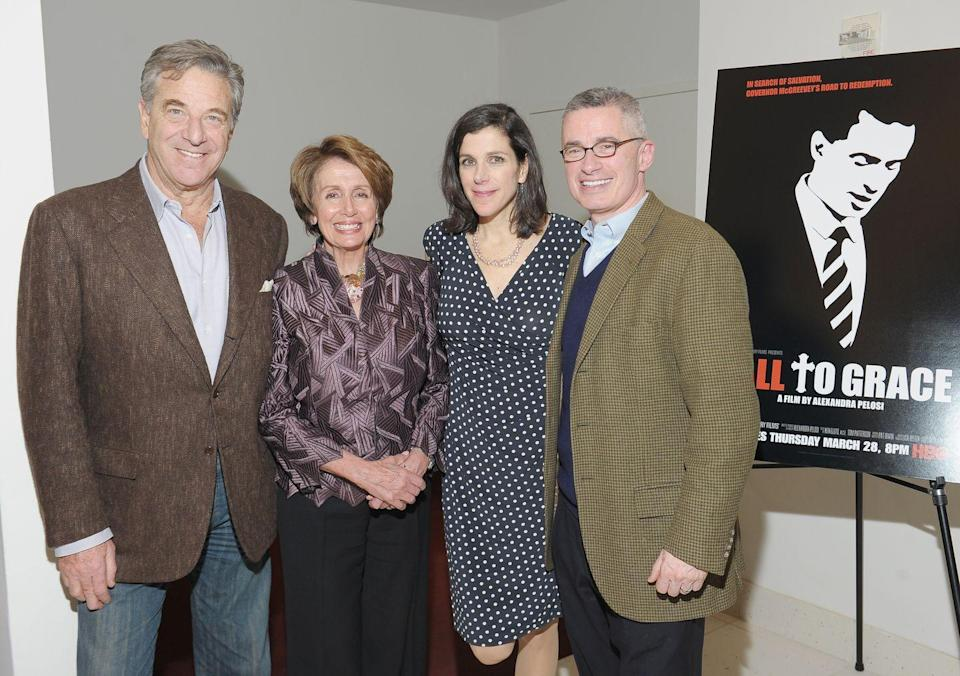 <p>Nancy with her daughter, Alexandra, and husband Paul at an HBO documentary premiere. </p>
