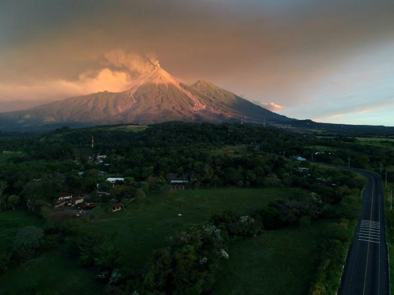 A view of the Fuego Volcano erupting as seen from Escuintla, Guatemala