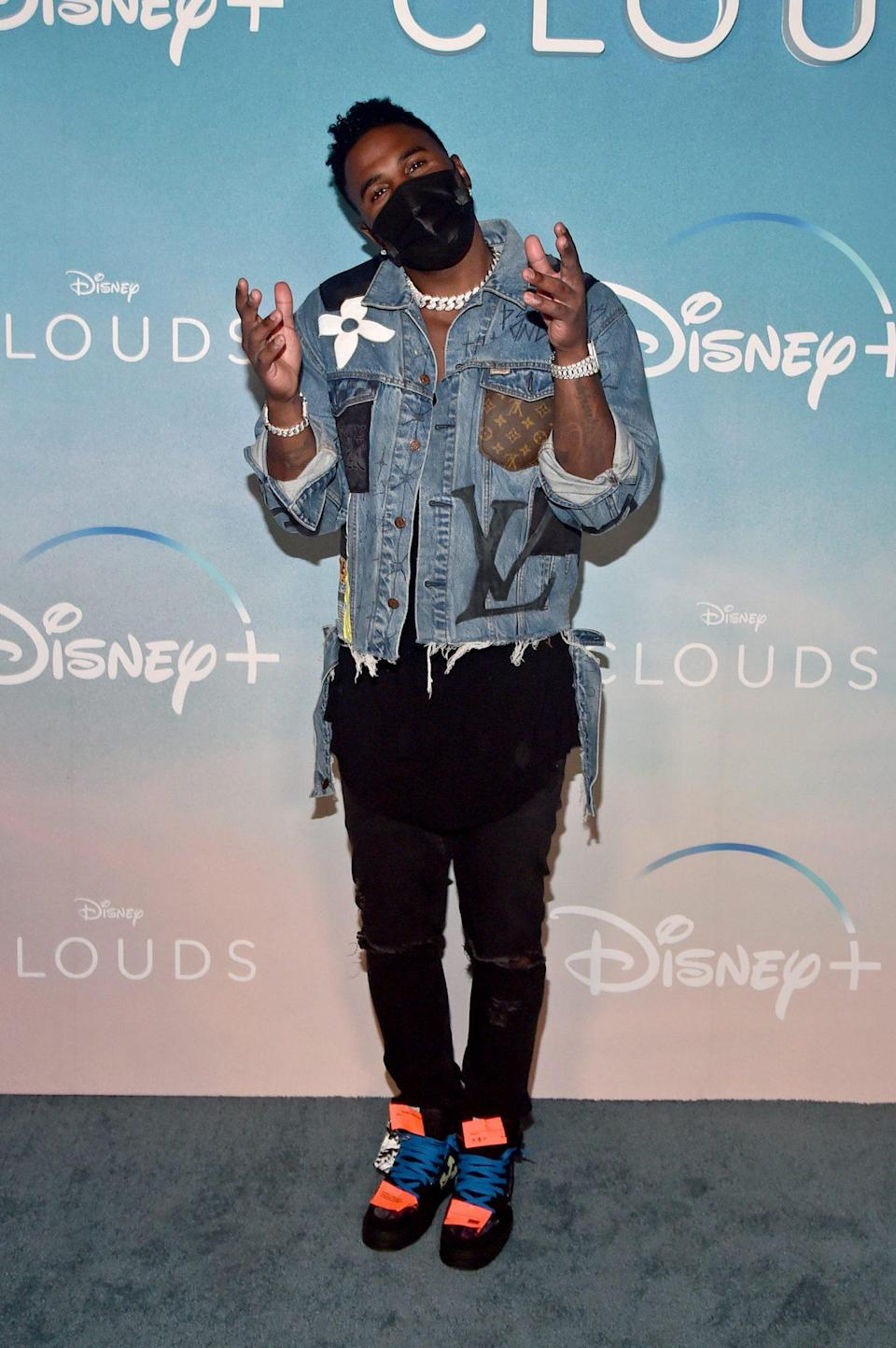 <p>Jason Derulo attends the world premiere screening of the Disney+ original movie <em>CLOUDS</em> at the Disney+ Drive-In Festival at Barker Hangar on Monday in Santa Monica.</p>