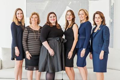 Both firms are family owned and operated, specializing in premiere properties across re-sale and new development. Left to right: Alicia Lamadrid; Alicia Cervera; Elizabeth Ann Stribling-Kivlan; Alexandra Goeseke; Alicia Cervera Lamadrid; and Veronica Cervera Goeseke.