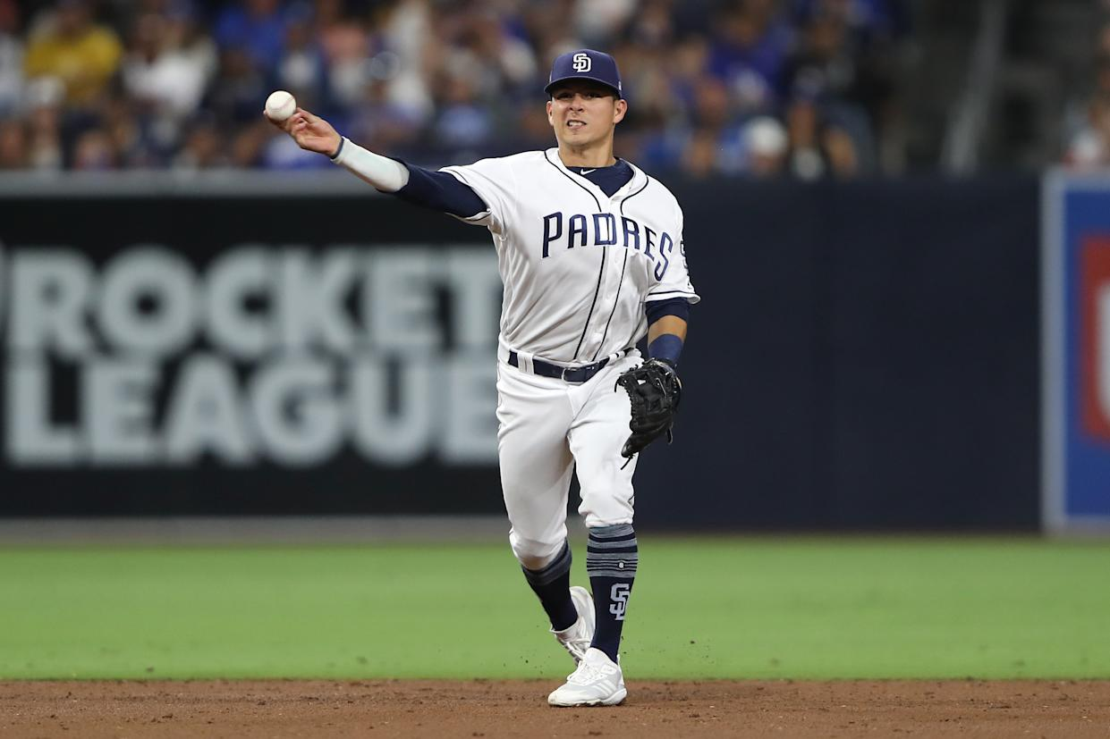 SAN DIEGO, CALIFORNIA - AUGUST 27:  Luis Urias #9 of the San Diego Padres throws to first base during a game against the Los Angeles Dodgers at PETCO Park on August 27, 2019 in San Diego, California. (Photo by Sean M. Haffey/Getty Images)