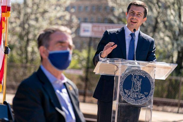 PHOTO: Transportation Secretary Pete Buttigieg speaks at a news conference to announce the expansion of commuter rail in Virginia at the Amtrak and Virginia Railway Express (VRE) Alexandria Station, March 30, 2021, in Alexandria, Va. (Andrew Harnik/AP)