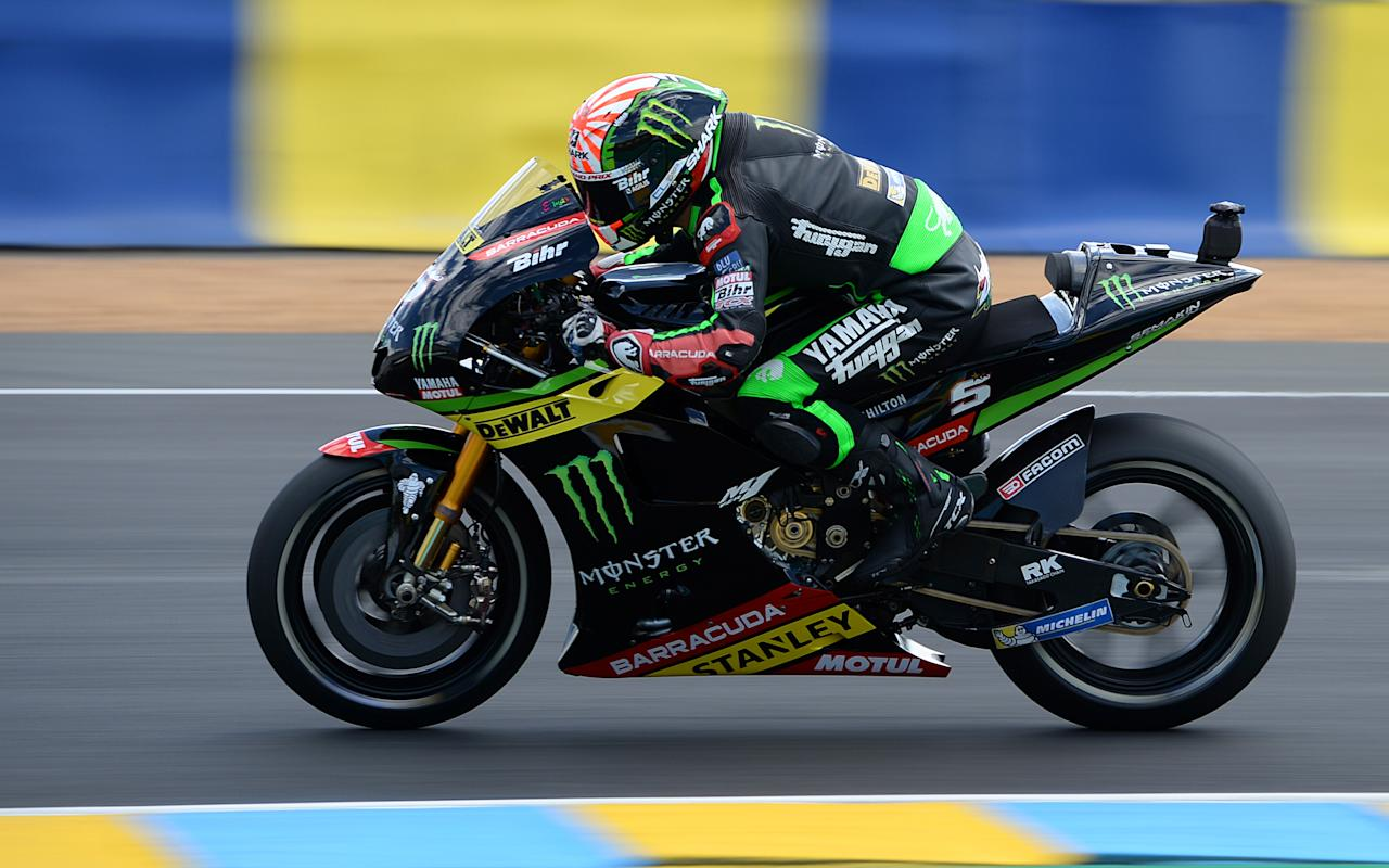 Second placed France's rider Johann Zarco competes on his Monster Yamaha TECH 3 MOTOGP N°5 during the MotoGP race of the French Motorcycle Grand Prix, on May 21, 2017 in Le Mans, northwestern France. (AFP Photo/GUILLAUME SOUVANT)