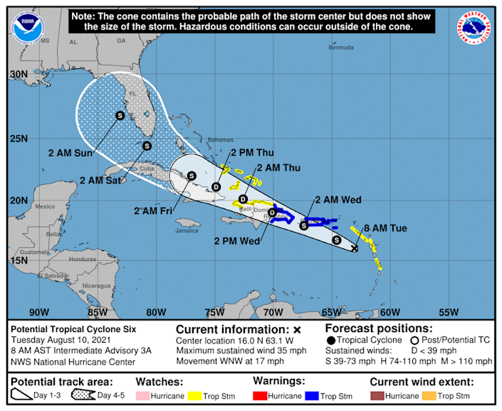 The potential tropical cyclone in the eastern Caribbean is still right on the cusp of strengthening into a tropical depression or Tropical Storm Fred.