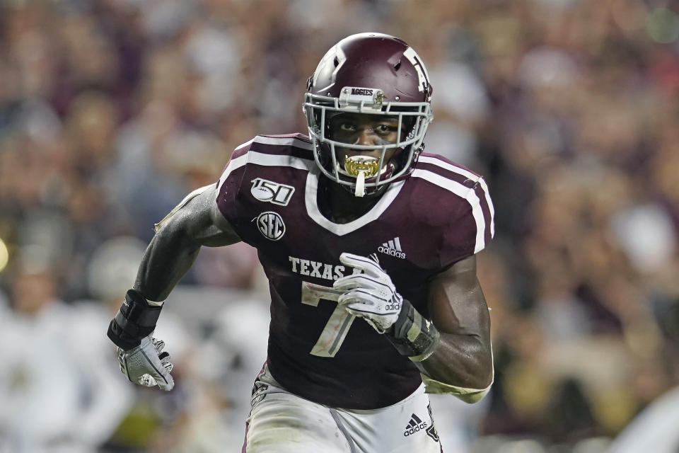 FILE - Texas A&M's Jashaun Corbin (7) runs a pattern against Texas State during the first half of an NCAA college football game in College Station, Texas, Thursday, Aug. 29, 2019. Although he played only two games last year before a hamstring injury knocked him out of the rest of the season, Corbin rushed for 483 yards in 14 career games at Texas A&M. He should boost the backfield at Florida State. (AP Photo/Chuck Burton, File)