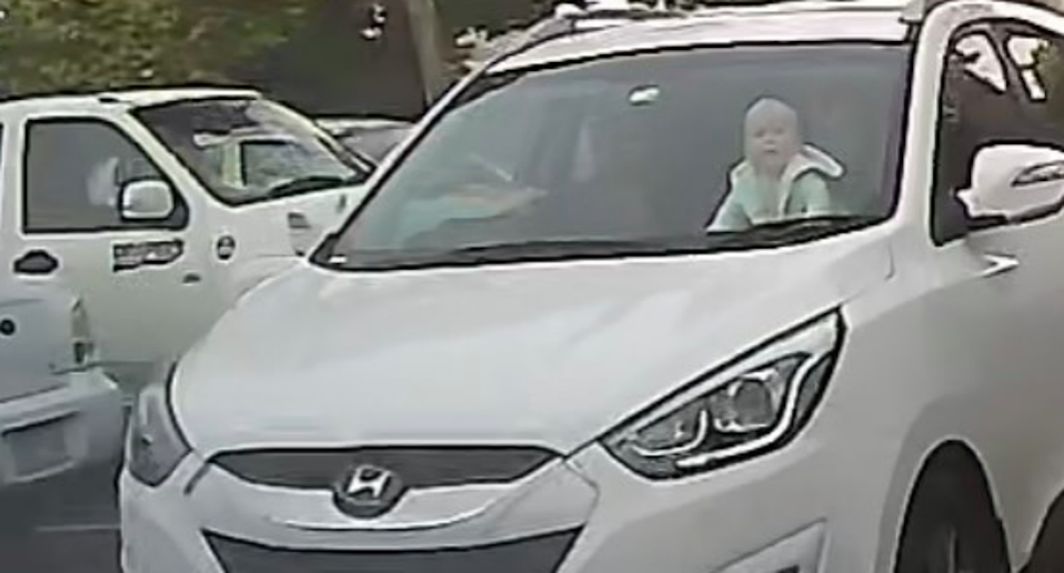 Craig Waters was shocked to find the baby crawling on the dashboard of a car driving in Geelong. Source: iDriveSafety/Supplied