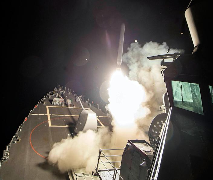<p>A Tomahawk missile is launched April 7, 2017, from the USS Ross in the Mediterranean Sea. The U.S. blasted a Syrian air base with a barrage of cruise missiles in fiery retaliation for this week's gruesome chemical weapons attack against civilians. (U.S. Navy via AP) </p>