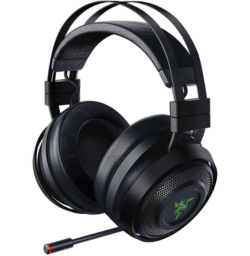 """<p><strong>Razer</strong></p><p>amazon.com</p><p><strong>$159.99</strong></p><p><a href=""""https://www.amazon.com/dp/B07HZ6YWNB?tag=syn-yahoo-20&ascsubtag=%5Bartid%7C10054.g.23013003%5Bsrc%7Cyahoo-us"""" rel=""""nofollow noopener"""" target=""""_blank"""" data-ylk=""""slk:Buy"""" class=""""link rapid-noclick-resp"""">Buy</a></p><p>Doesn't matter if he's a seasoned PC gamer or a casual player with hopes of one day owning a PS5, he needs this headset. It produces phenomenal 3D audio—<a href=""""https://www.esquire.com/lifestyle/g35034712/best-ps5-headsets-3d-audio/"""" rel=""""nofollow noopener"""" target=""""_blank"""" data-ylk=""""slk:the latest thing in gaming"""" class=""""link rapid-noclick-resp"""">the latest thing in gaming</a>—and even has haptic feedback for a full immersion effect. (And you won't have to hear to any of it.)</p>"""
