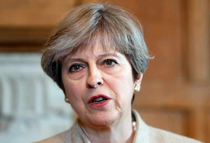 Britain's Prime Minister Theresa May and Prime Minister Shinzo Abe of Japan hold a joint news conference at Chequers, near Wendover