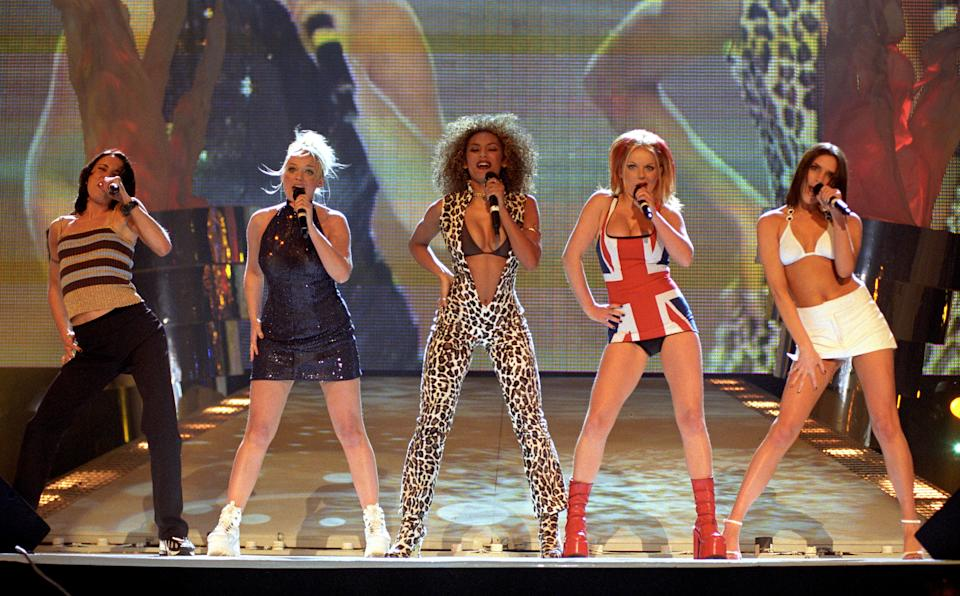 The Spice Girls perform on stage at the Brit Awards ceremony in London, where they scooped awards for Best British Video and Best Single.