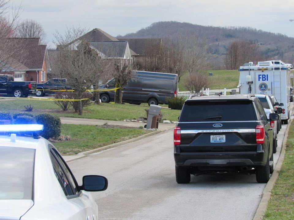 Police blocked a street in Somerset on March 6, 2020, as FBI agents investigated a shooting that occurred when agents tried to arrest a constable.