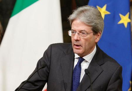 Italy's PM Paolo Gentiloni attends a joint news conference with Japan's PM Shinzo Abe in Rome