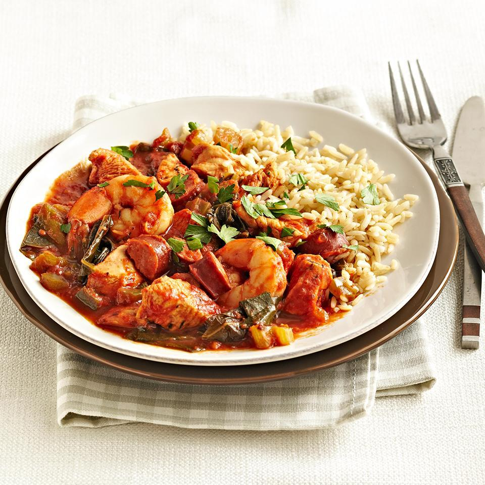 <p>This hearty jambalaya is bursting with chicken, smoked turkey sausage, and shrimp. It takes just 25 minutes to prep in the morning and then your slow cooker will work its magic and deliver a tasty meal at the end of the day.</p>