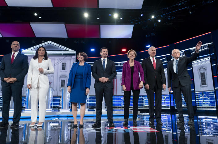 Candidates at the Democratic presidential debate in Atlanta last month. (Photo: Melina Mara/Washington Post via Getty Images)