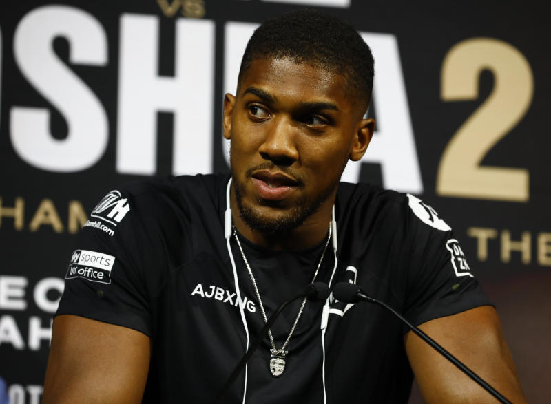 NEW YORK, NY - SEPTEMBER 5: Anthony Joshua speaks to the media at a press conference on September 5, 2019 in New York City. Ruiz and Joshua will face off for the Heavyweight Championship in Saudi Arabia on December 7, 2019. (Photo by Jeff Zelevansky/Getty Images)