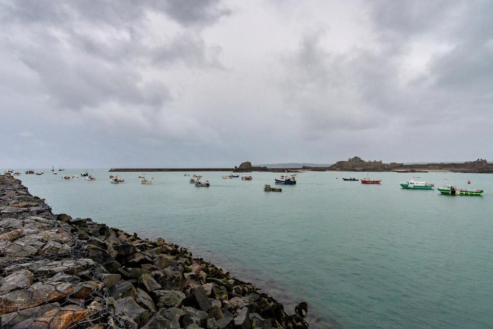French fishing fleet is seen at the entrance to the harbour in St Helier. Source: Retuers