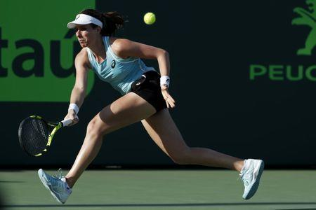 Mar 26, 2018; Key Biscayne, FL, USA; Johanna Konta of Great Britain hits a forehand against Venus Williams of the United States (not pictured) on day seven of the Miami Open at Tennis Center at Crandon Park. Mandatory Credit: Geoff Burke-USA TODAY Sports