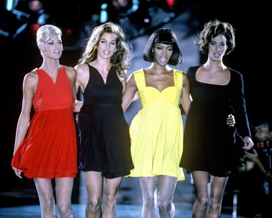 Linda Evangelista, Cindy Crawford, Naomi Campbell and Christy Turlington during the Versace 1991 show