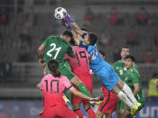 Turkmenistan's goalkeeper Charyyev Rasul punches the ball during their Asian zone Group H qualifying soccer match against South Korea for the FIFA World Cup Qatar 2022 at Goyang stadium in Goyang, South Korea, Saturday, June 5, 2021. (AP Photo/Lee Jin-man)