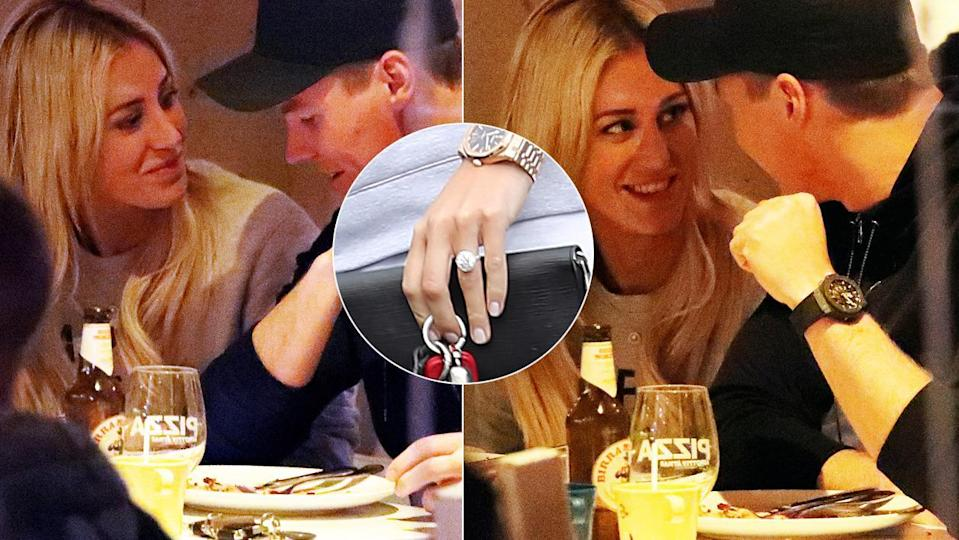 Roxy and Oliver look loved-up as she flashes engagement ring