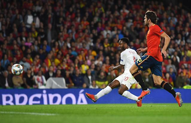 Sterling's shot left De Gea no chance in the Spain goal
