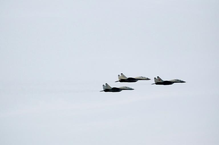 An archive picture showing Iranian Mig-29 fighter jets