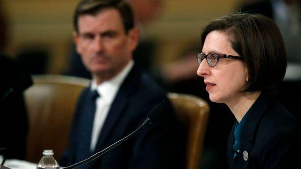 PHOTO: Deputy Assistant Secretary of Defense Laura Cooper, and State Department official David Hale, left, testify before the House Intelligence Committee on Capitol Hill, Nov. 20, 2019. (Alex Brandon/AP)
